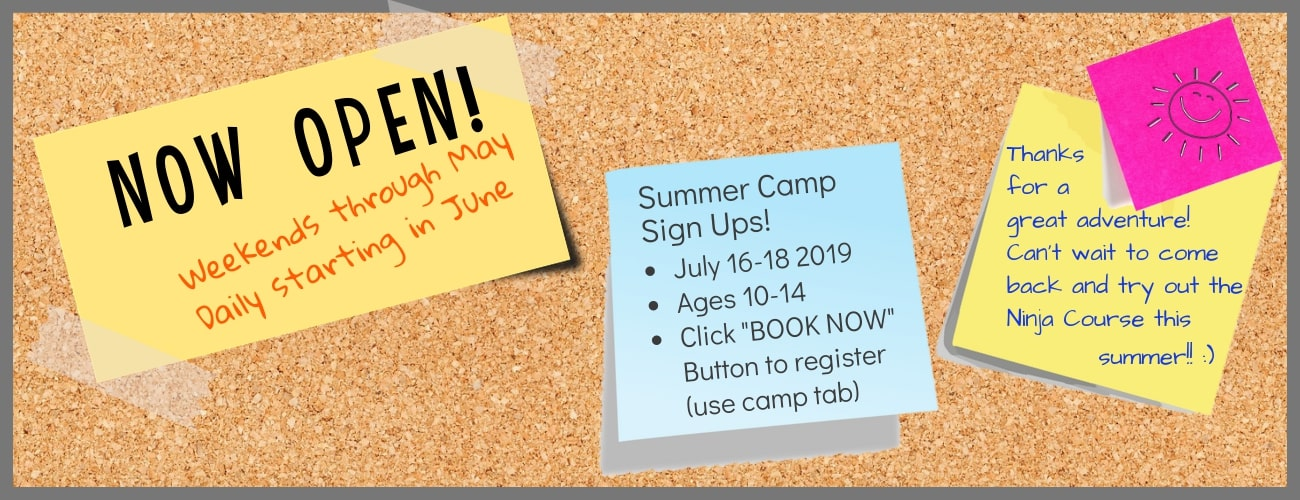 Tree to Tree Adventure Park's 2019 news. Now open weekends through May and daily starting in June. Sign up for summer camps.