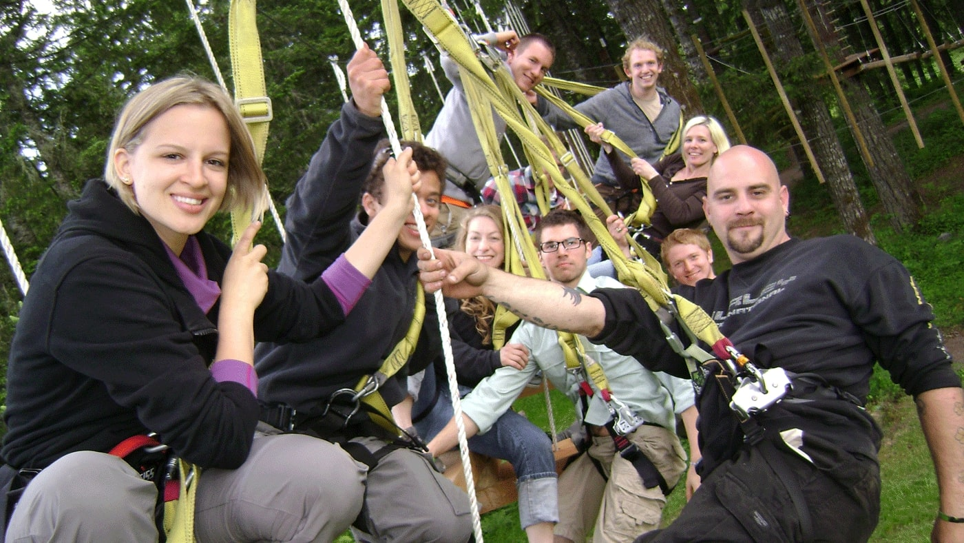 Tree To Tree Arial Adventure Park's Parties and Special Occasions - Party bundles include: Aerial Obstacle Course plus one of our mini-adventures - Monkey Grove or Racing Zip Lines, Gift bags and GOODIES for all guests, Delicious Pizza, soda and water and plenty of picnic tables.